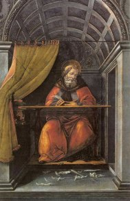 Botticelli's St. Augustine writing and revising in his cell