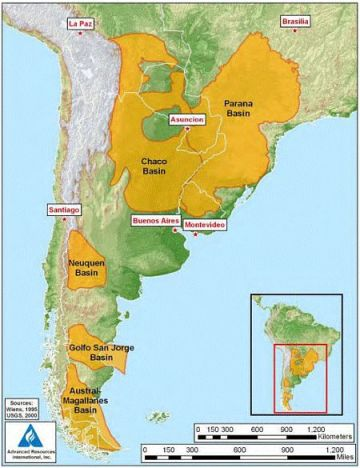 Shale Gas deposits South America SOURCE: USGS