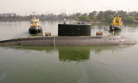The Indian navy's Sindhurakshak submarine in Visakhapatnam earlier this year. Photograph: Kamal Kishore/Reuters
