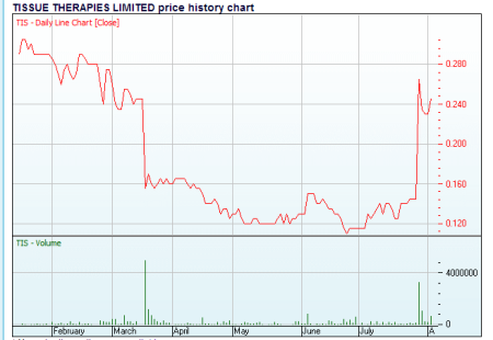Tissue Therapies Share price 2013