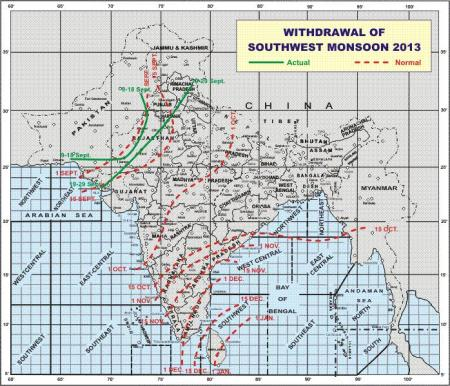 Withdrawal of 2013 monsoon September 30th source IMD