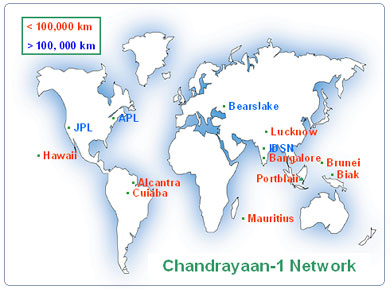 Indian Deep Space Network used for Chandrayaan - isro