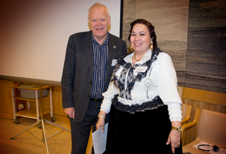 Thomas Hammarberg, UN advisor with Diana Nyman in Roma dress