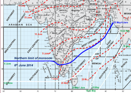 Monsoon advance  2014 June 6th - source IMD