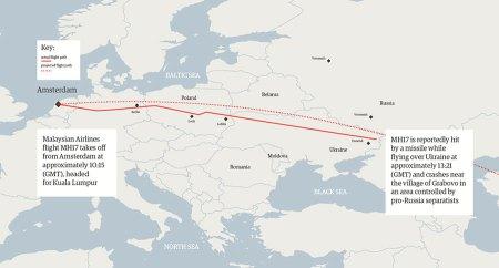 MH17 Ukraine flight path Guardian - Flight Radar 24