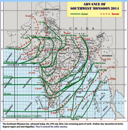 Monsoon covers entire country 17 July 2014 - IMD