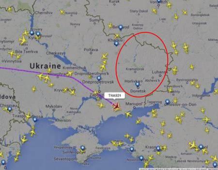 TG921 and commercial airlines avoiding eastern Ukraine