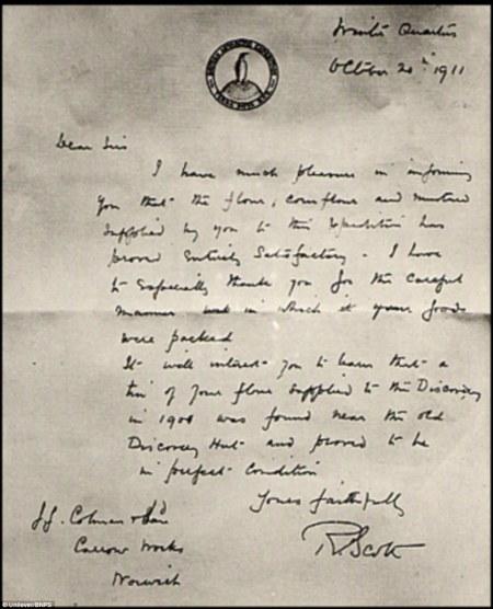 Captain Scott's letter to Colman (Unilever)