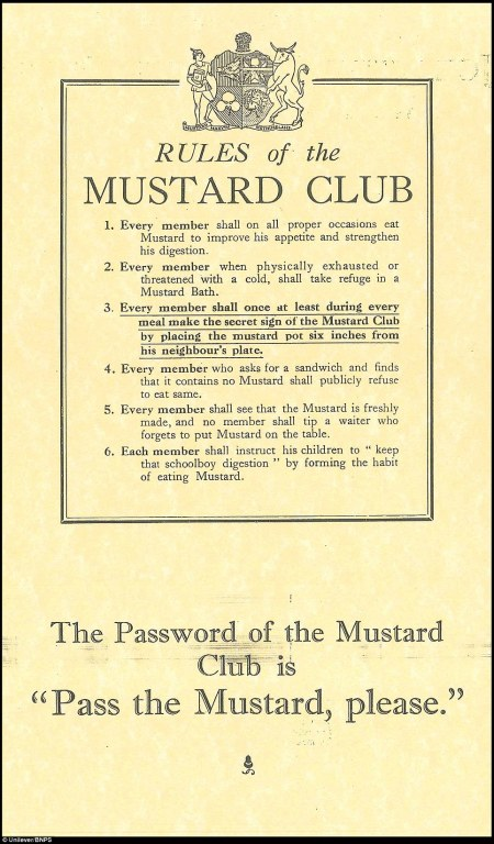 Rules of The Mustard Club