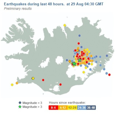 Iceland earthquake swarm 20140829