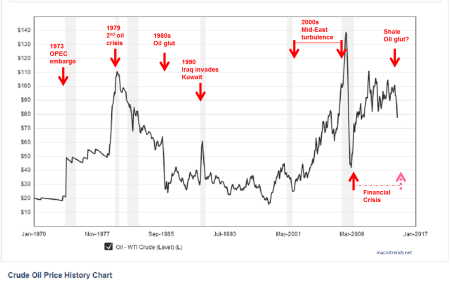 crude oil price history 1970-2014