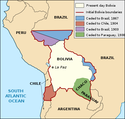 The changing shape of Bolivia, showing the loss of the coastal province of Antofagusta in 1904. (Although the transfer of territory was ratified in 1904, Antofagusta had been seized by Chile as early as 1880.) Bolivia still seeks the recovery of her coastline, and maintains a navy on Lake Titicaca. Map: Wikicommons vi Smithsonian