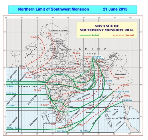 monsoon advance June 21st 2015 - IMD
