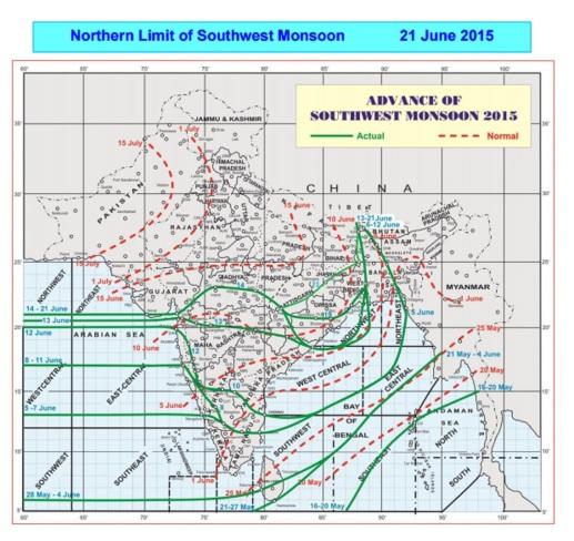 monsoon advance June 21st 2015 - IMD