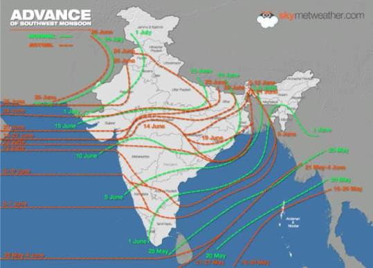 Monsoon spread till 28 June 2015 - Skymet graphic from IMD data