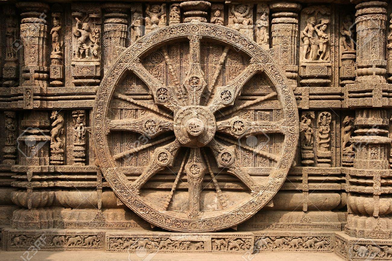 13th century stone chariot wheel - Konark