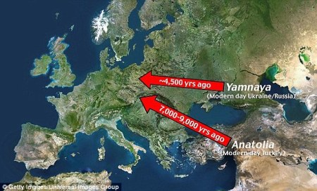 peopling of europe in the neolithic - via daily mail