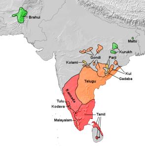 Dravidian language subgroups - map Wikipedia