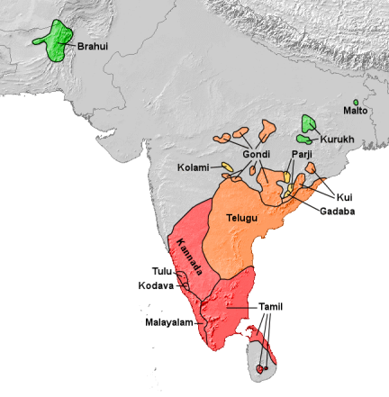 Dravidian language subgroups - map Wikipedia