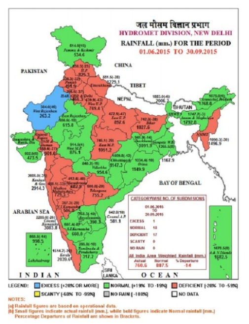 Monsoon 2015 - Deficient but no disaster Source IMD