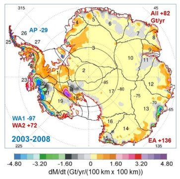 This map shows the rates of mass changes from ICESat 2003-2008 over Antarctica. Sums are for all of Antarctica: East Antarctica (EA, 2-17); interior West Antarctica (WA2, 1, 18, 19, and 23); coastal West Antarctica (WA1, 20-21); and the Antarctic Peninsula (24-27). Credit: Jay Zwally/ Journal of Glaciology