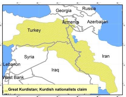 Greater Kurdistan dreams map from Jon Davis via Quora