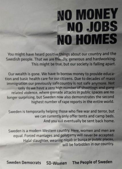 Sweden Democrat's flyer image Expressen