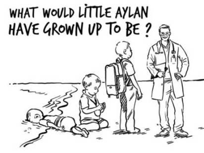Rania on Aylan by Osama Hajjaj