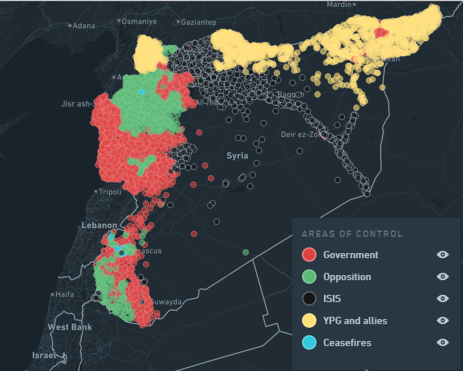 Syria conflict map 13th March 2016 Carter Center