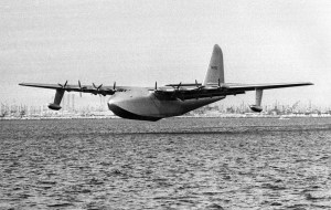 """Nov. 2, 1947: The Hughes Aircraft H-4 Hercules """"Spruce Goose"""" during short flight in the Long Beach-Los Angeles Harbor. This photo was published in the Nov. 3, 1947 LA Times."""