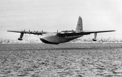 "Nov. 2, 1947: The Hughes Aircraft H-4 Hercules ""Spruce Goose"" during short flight in the Long Beach-Los Angeles Harbor. This photo was published in the Nov. 3, 1947 LA Times."