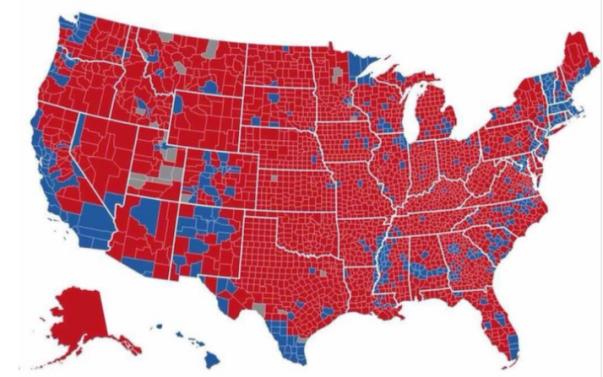 Trump's reach by county